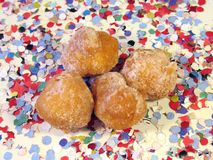Fritters. On background of confetti Stock Image