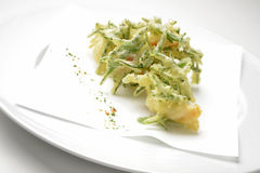 Fritters appetizer of shrimp and samphire tempura Royalty Free Stock Images