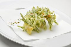 Fritters appetizer of shrimp and samphire tempura Stock Photography