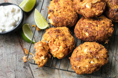 Fritters with Carrot Sweet Potato and Feta Royalty Free Stock Image