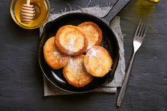 Fritters in cast iron pan Royalty Free Stock Photos