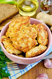 Fritters chicken with bread and spices on board Stock Photography