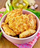 Fritters chicken with spices on board Stock Photography