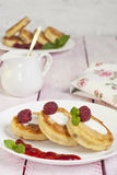 Fritters of cottage cheese with berries Stock Photos