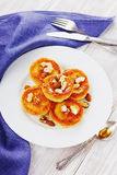 Fritters of cottage cheese with honey and nuts Royalty Free Stock Image