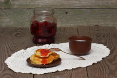 Fritters. Of cottage cheese with a jam stock photos