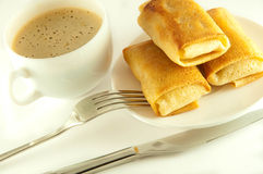 Fritters with a cup of coffee Royalty Free Stock Images