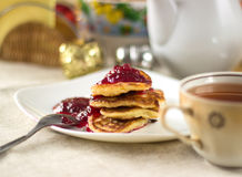 Fritters with jam Stock Photography