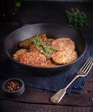 Fritters from a liver on old iron pan. Stock Photography
