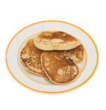 Fritters pancake. Fritters, pancake in a plate on a white background Royalty Free Stock Images