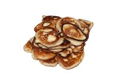 Fritters. Pancakes isolated on white background Stock Photos