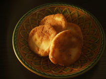 Fritters on plate. Breakfast fritters on ceramic plate Stock Image