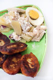 Fritters of potatoes with potato salad and boiled eggs Royalty Free Stock Image