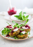 Fritters with quinoa. Vegetables and flax seeds Royalty Free Stock Photography