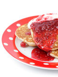 Fritters with raspberry jam on a plate Stock Photography