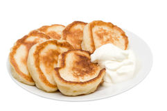 Fritters with sour cream Royalty Free Stock Image