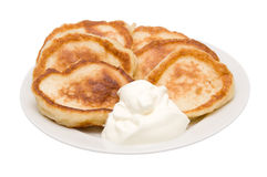 Fritters with sour cream Royalty Free Stock Photos