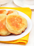 Fritters on white plate Stock Image
