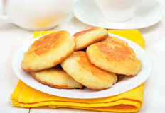 Fritters on white plate Stock Photo