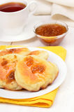 Fritters with yellow raspberry confiture Royalty Free Stock Photography