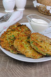Fritters of zucchini and peas Royalty Free Stock Images