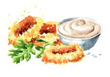 Frittierte Kalmarringe mit und Soße, Meeresfrüchte, Aquarellhandgezogene Illustration lokalisiert auf weißem Hintergrund lizenzfreie abbildung
