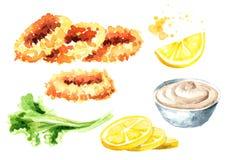 Frittierte Kalmarringe mit Zitronen- und Soßensatz, Meeresfrüchte, Aquarellhandgezogene Illustration lokalisiert auf weißem Hinte lizenzfreie abbildung