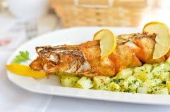 Frittierte Spiessfische auf gekochtem Kartoffelkissen mit Butter und Kräutern Lizenzfreie Stockfotografie