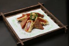 Frittierter chinesischer klebriger Kuchen mit Yamswurzel Stockbild