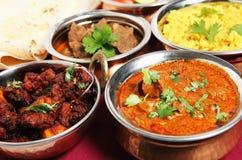 Frittura del pollo e curry di agnello Immagine Stock