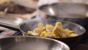 Frittura dell'alimento su una padella Cottura dell'alimento su una padella in cucina Le verdure sono fritte Bella frittura archivi video