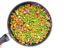 Frittura delle verdure in una padella Fotografia Stock Libera da Diritti