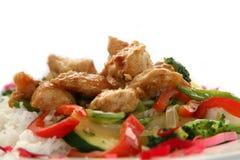 Frittura di Stir del pollo di Teriyaki Fotografia Stock Libera da Diritti
