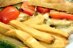 Fritture e panino della bistecca Fotografie Stock