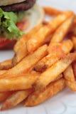 Fritture ed hamburger Fotografia Stock