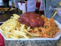 Fritture, riso e pollo Fotografia Stock