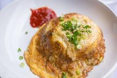 Fritura de la tortilla del huevo Fotografía de archivo