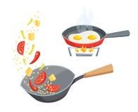 Friture dans une casserole Image stock