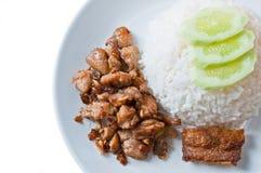 Friture de poulet et de poissons Photo libre de droits