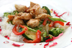 Friture de Stir de poulet de Teriyaki Photos stock