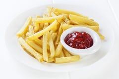 Fritures avec le ketchup Photos stock