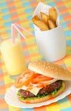Fritures et lait de poule d'hamburger Photographie stock libre de droits