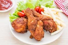 fritures frites françaises de poulet Photographie stock libre de droits