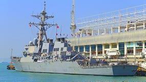 Fritzgerald ddg-62 u de Uss S buque de guerra del destructor de la marina de guerra Imágenes de archivo libres de regalías