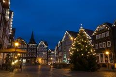 FRITZLAR, DEUTSCHLAND: Am 25. Dezember 2017: Markt von Fritzlar w Lizenzfreies Stockfoto