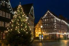 FRITZLAR, DEUTSCHLAND: Am 25. Dezember 2017: Markt von Fritzlar w Lizenzfreie Stockfotografie