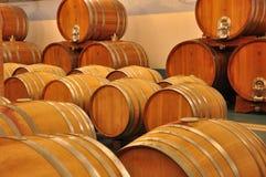 Friuli Colli Orientali wine cellar and barrels, interior view Royalty Free Stock Images