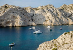 Friuli Islands bay with yachts in the roadstead Royalty Free Stock Image