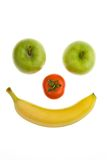 Friut smily. Smily from apple fruit with banana and tomato Royalty Free Stock Image