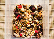 Friut tea,dried tea leaves. Photo of friut tea,dried tea leaves royalty free stock photos